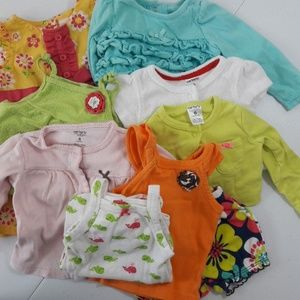 6 Month Baby 9 pc LOT Dress, Onsies, Cover Carter